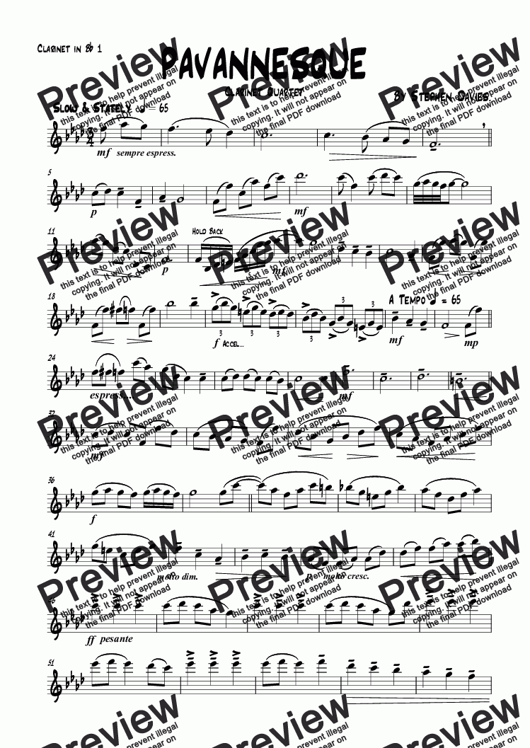 page one of the Clarinet in B^b 1 part from Pavannesque (Clarinet Quartet)