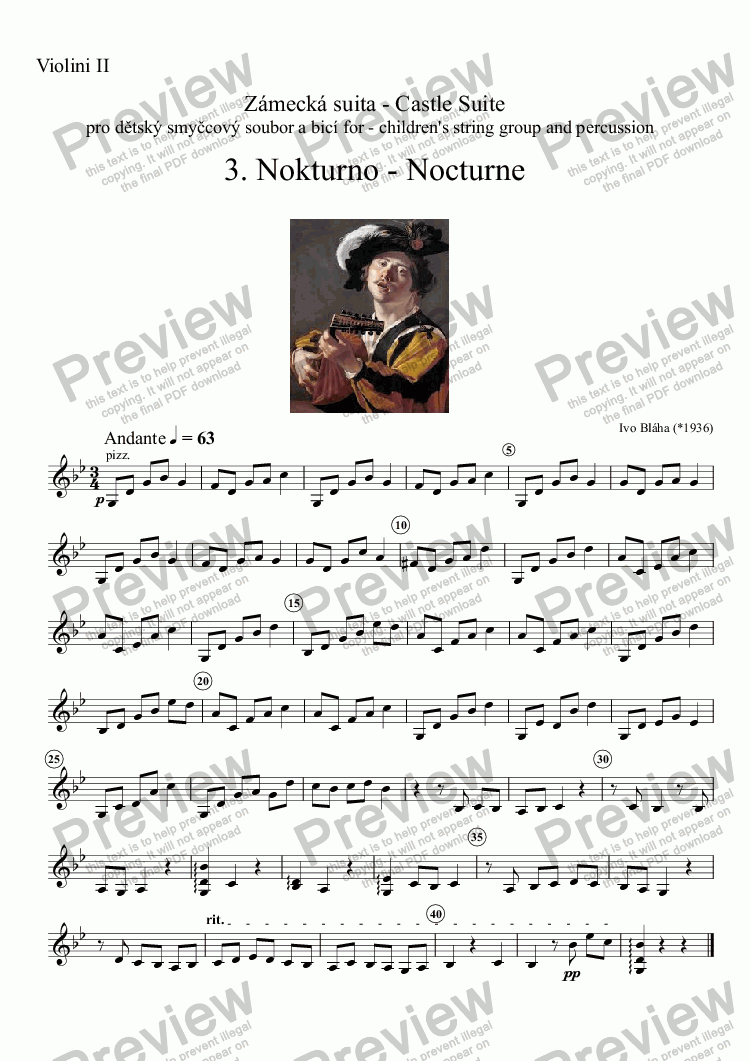 page one of the Violini II part from NOCTURNE (Nokturno) for children's string group
