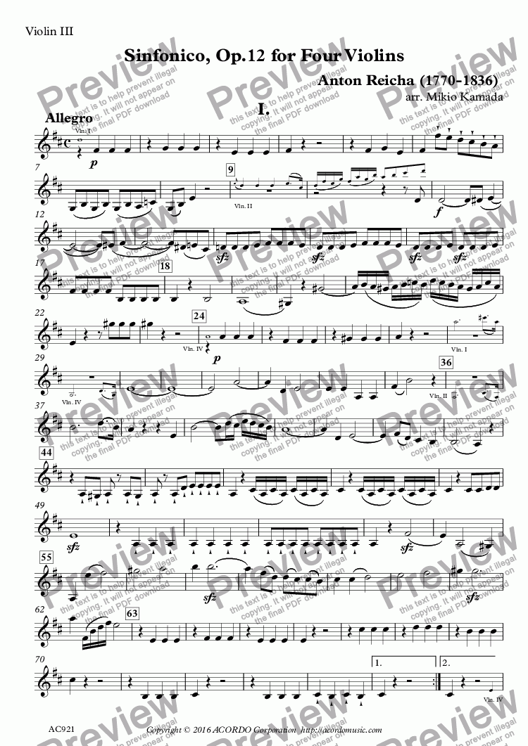 page one of the Violin III part from Sinfonico, Op.12 for Four Violins