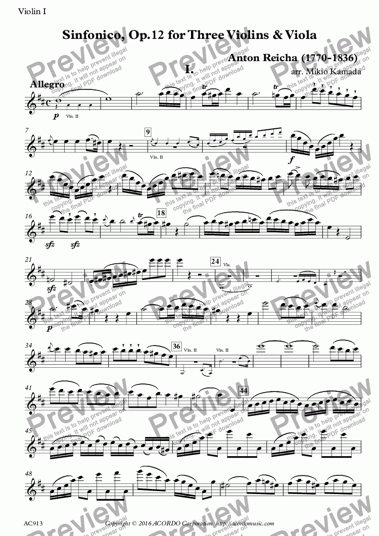 page one of the Violin I part from Sinfonico, Op.12 for Three Violins & Viola