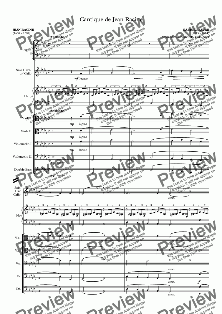 page one of the Version 2 - Full Score part from Fauré - Cantique de Jean Racine [SATB & Orchestra]