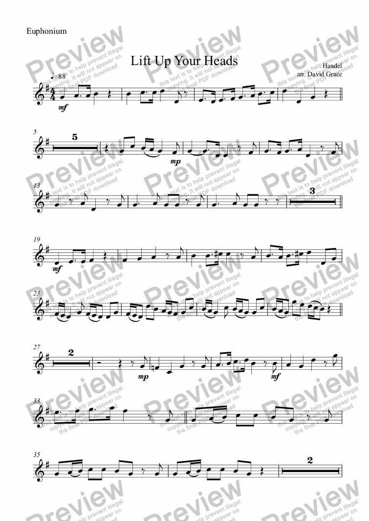 page one of the Euphonium part from Lift Up Your Heads