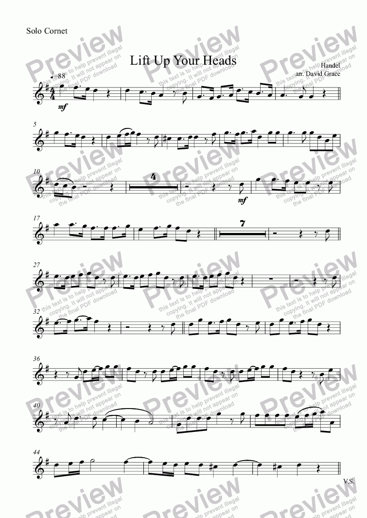 page one of the Solo Cornet part from Lift Up Your Heads