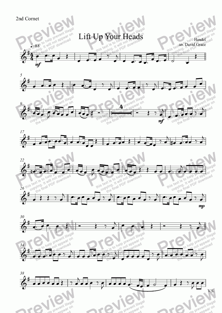 page one of the 2nd Cornet part from Lift Up Your Heads