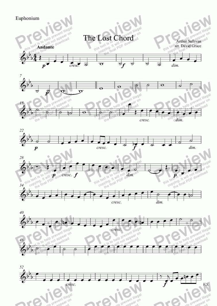 page one of the Euphonium part from The Lost Chord