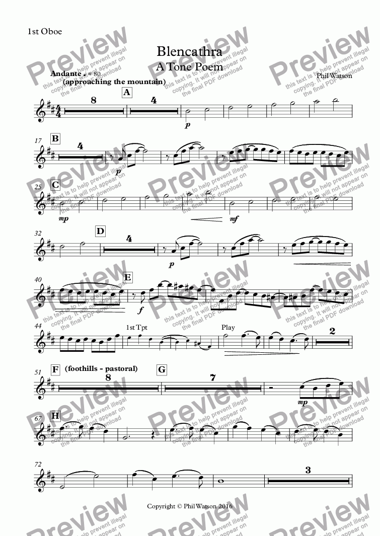 page one of the 1st Oboe part from Blencathra A Tone Poem