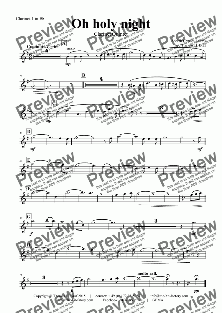 page one of the Clarinet 1 in B^b part from Oh holy night - Cantique de Noël - Christmas Song - Clarinet Quintet