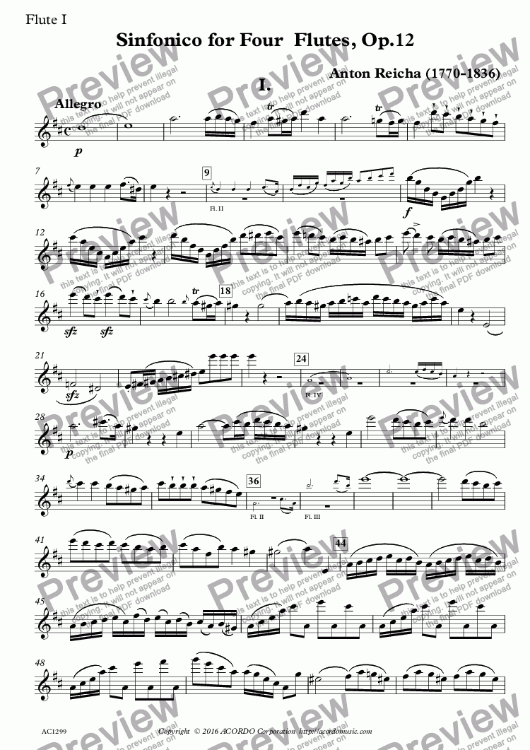 page one of the Flute I part from Sinfonico for Four Flutes Op.12