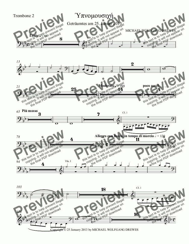 page one of the Trombone 2 part from Hypnomusic - Ύπνομουσιχή