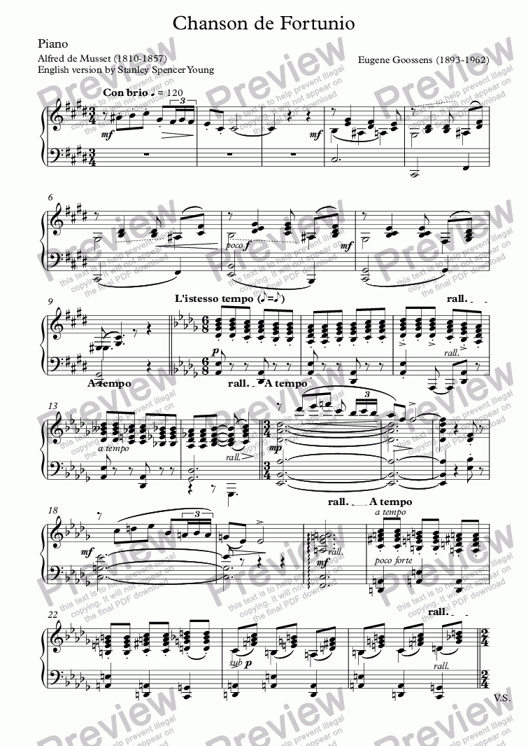 page one of the Piano part from Chanson de Fortunio (Eugene Goossens / Musset)