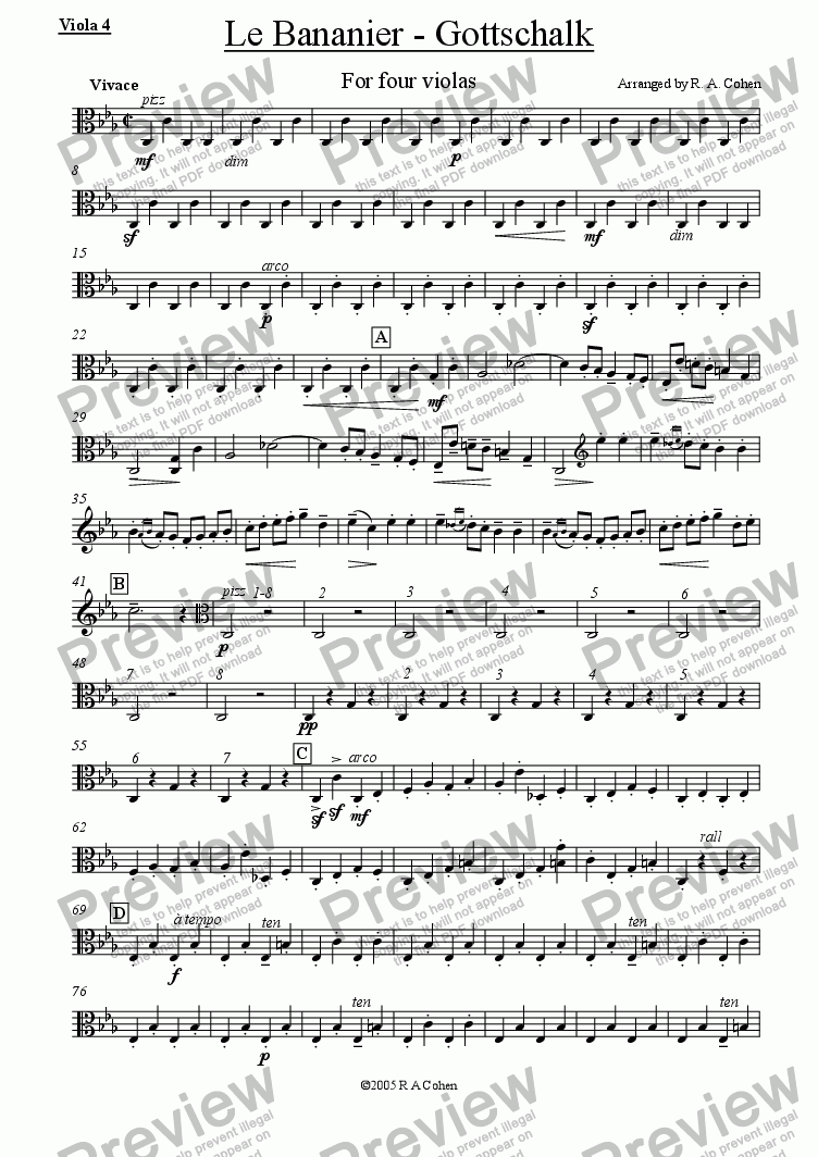 page one of the viola 4 part from Gottschalk - LE BANANIER - for viola quartet