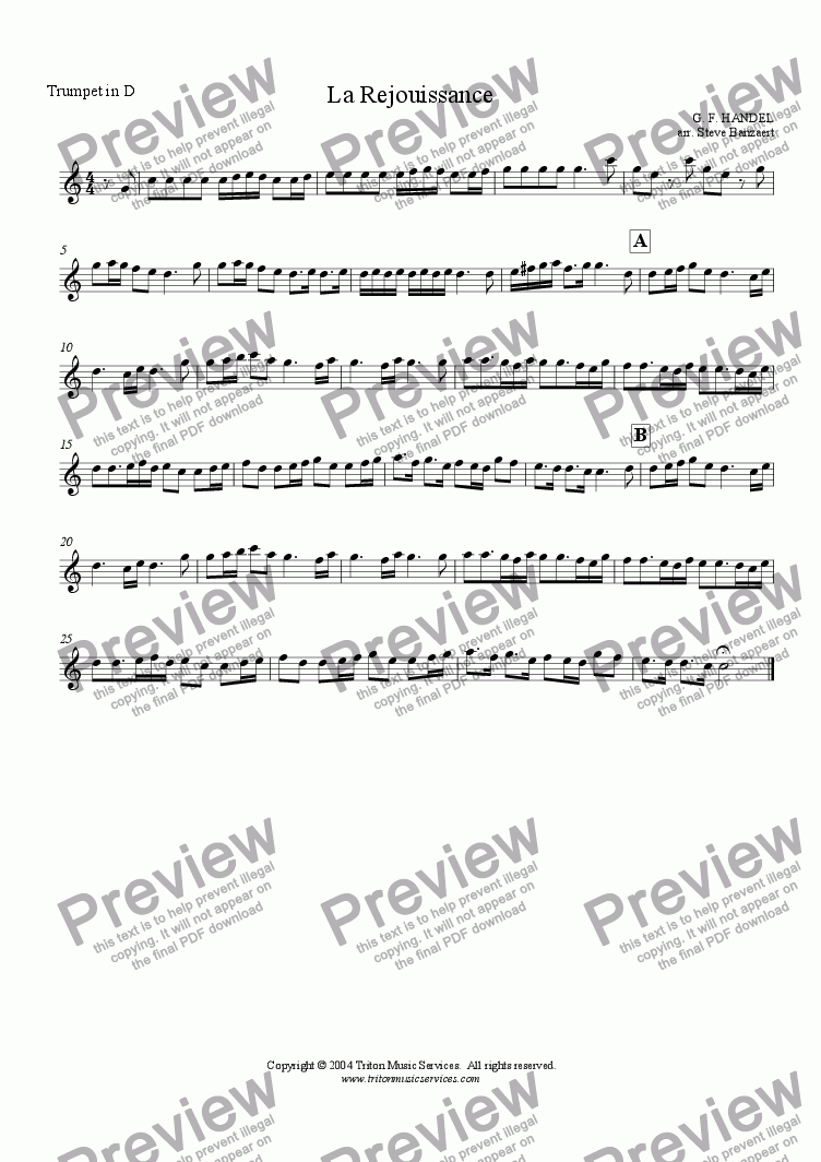 page one of the Trumpet 1 in D part from La Rejouissance from Music for the Royal Fireworks
