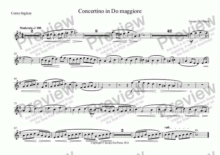 page one of the Corno Inglese part from C-Maj Little Concert