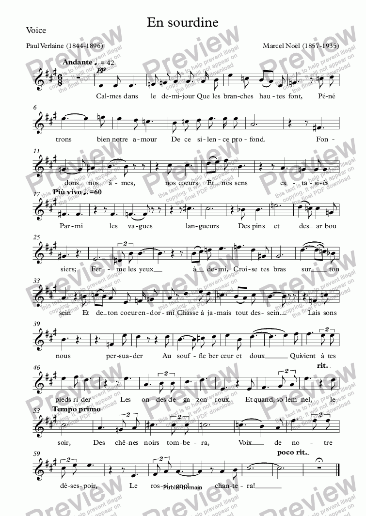 page one of the Voice part from En sourdine (Marcel Noël / Verlaine)