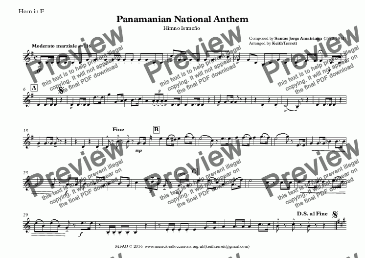 page one of the Horn in F part from Panamanian National Anthem (Himno Istmeño) for Brass Quintet