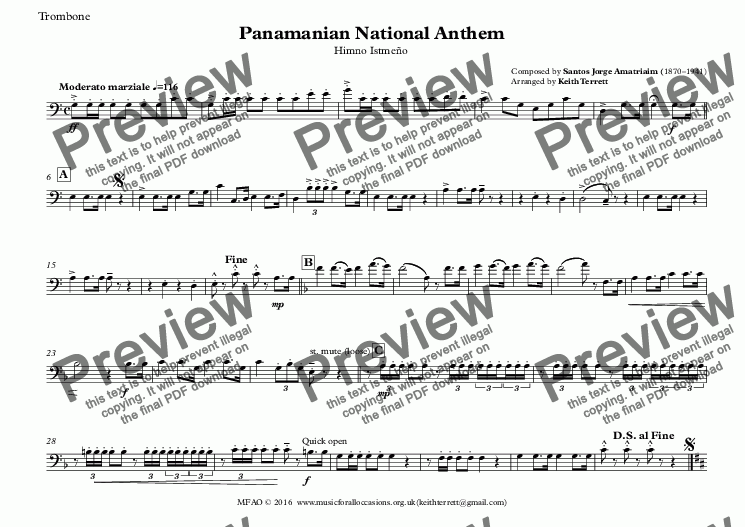 page one of the Trombone part from Panamanian National Anthem (Himno Istmeño) for Brass Quintet