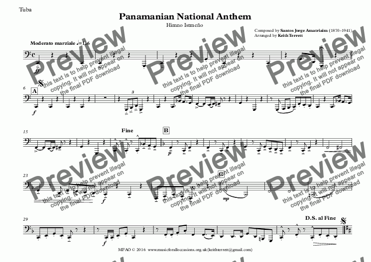 page one of the Tuba part from Panamanian National Anthem (Himno Istmeño) for Brass Quintet