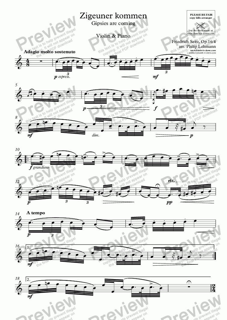 page one of the Violine part from Seitz, F. - Zigeuner kommen (Gipsies are coming), Op.16/4 - for Violin (orig.) & Piano (simplified)