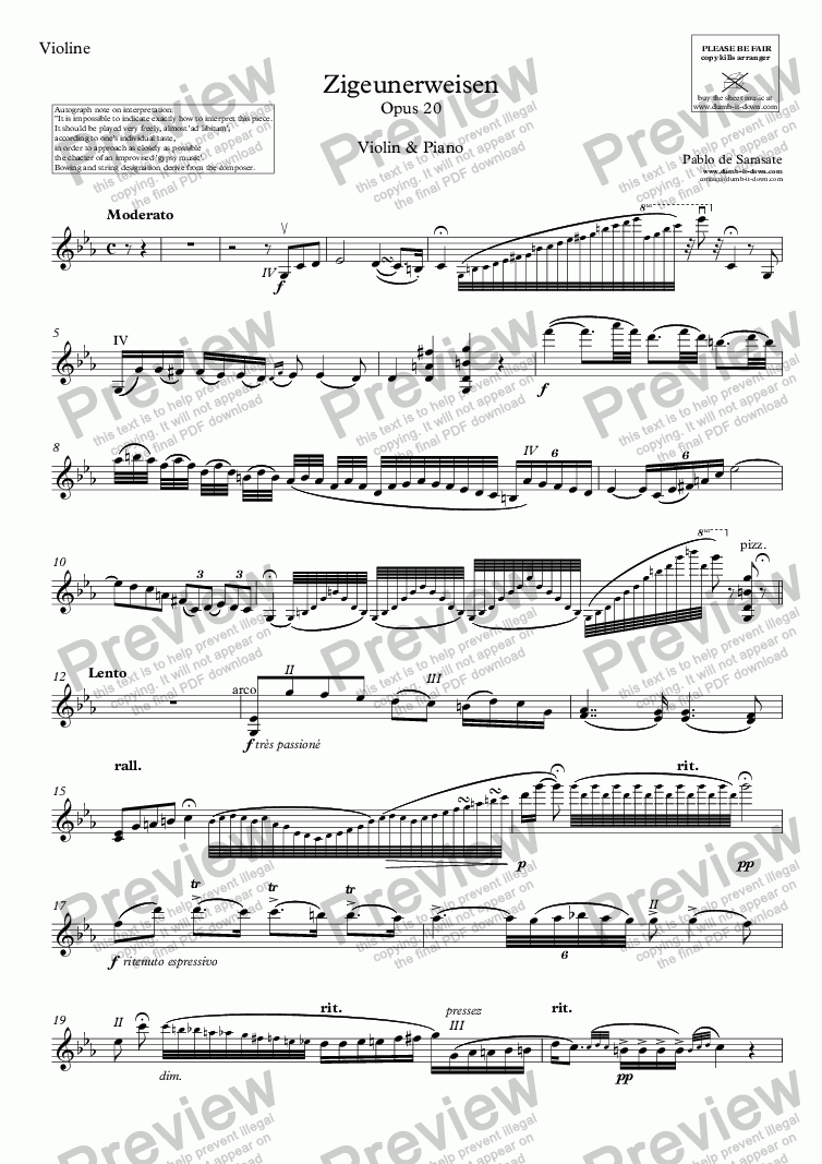 page one of the Violine part from Sarasate, P. - Zigeunerweisen (Gypsy Airs), Op. 20 - for Violin (orig.) & Piano (simplified)