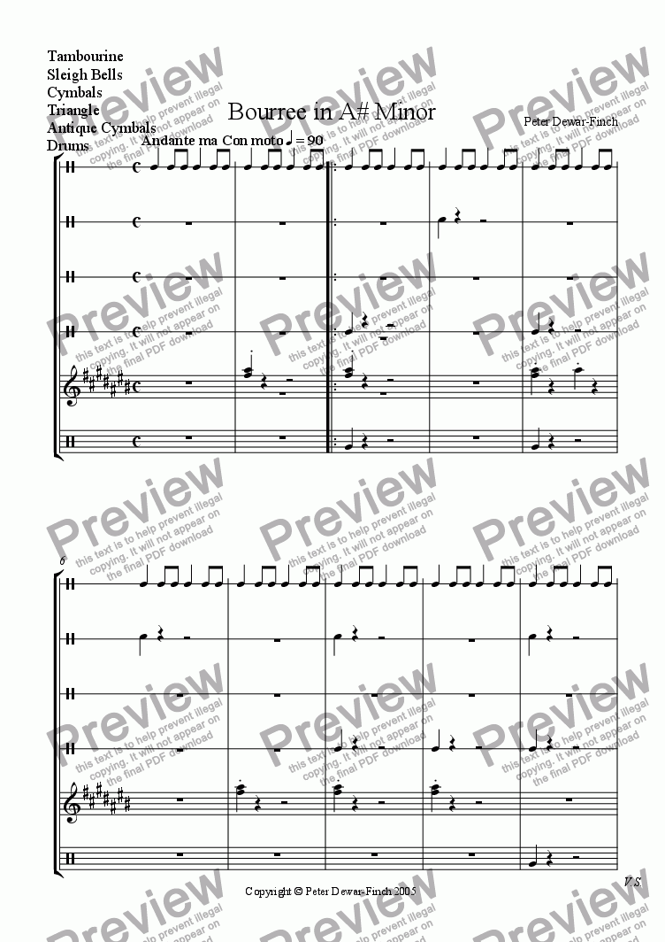 page one of the Percussion part from Bourree in A# Minor