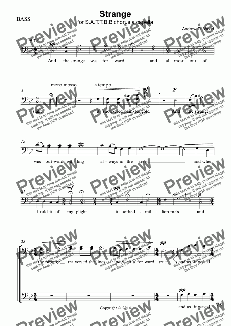 page one of the BASS part from Strange