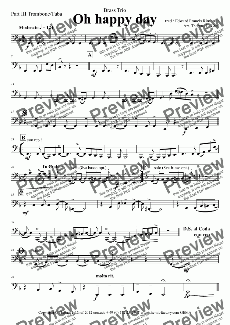 page one of the Part III Trombone/Tuba part from Oh happy day - Christmas Song - Gospel - Brass Trio