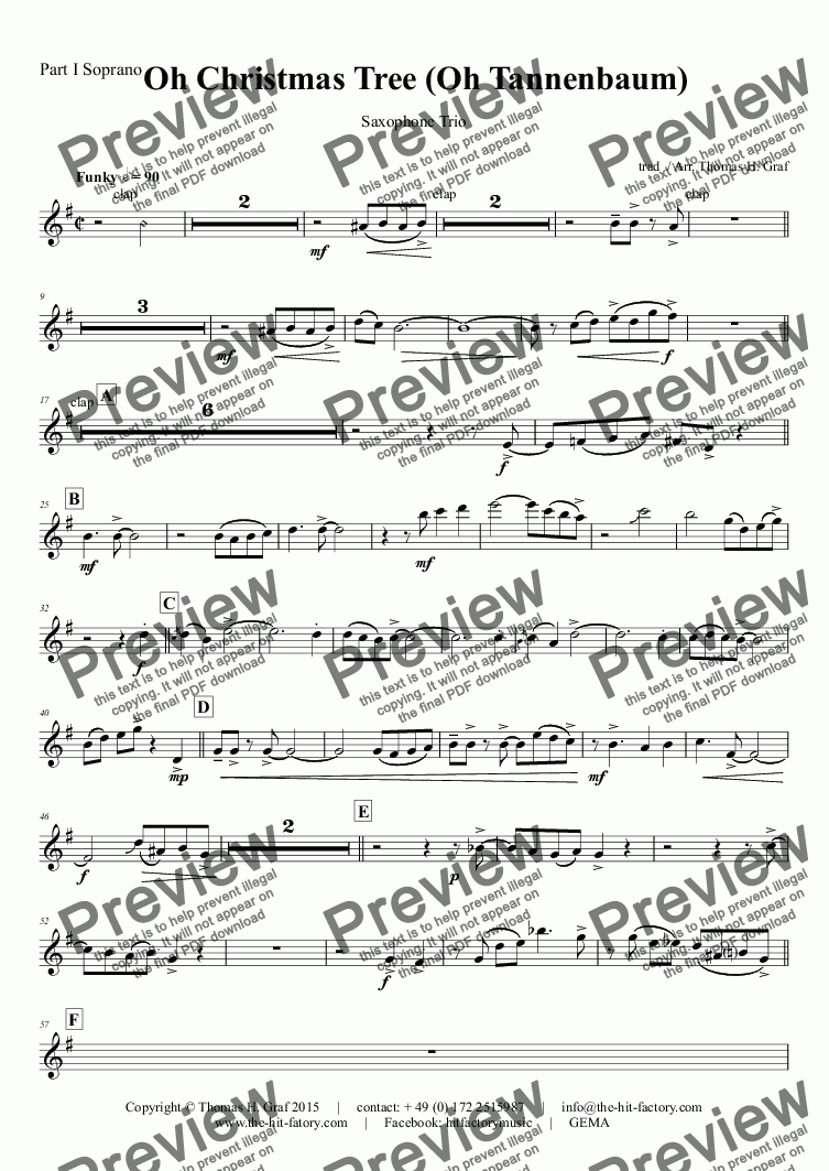 page one of the Part I Soprano part from Oh Christmas tree - Oh Tannenbaum - Funky - Saxophone Trio