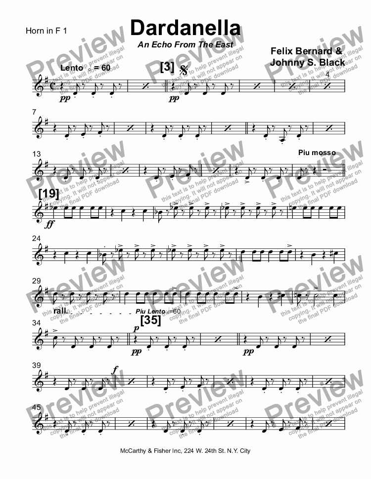page one of the Horn in F 1 part from Dardanella