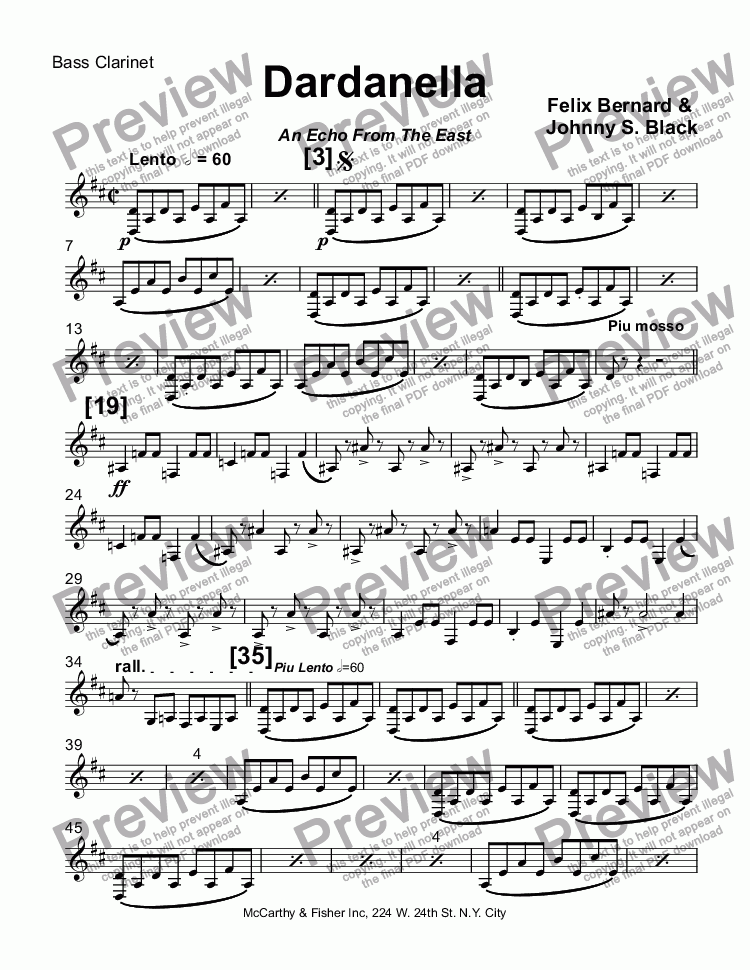 page one of the Bass Clarinet part from Dardanella