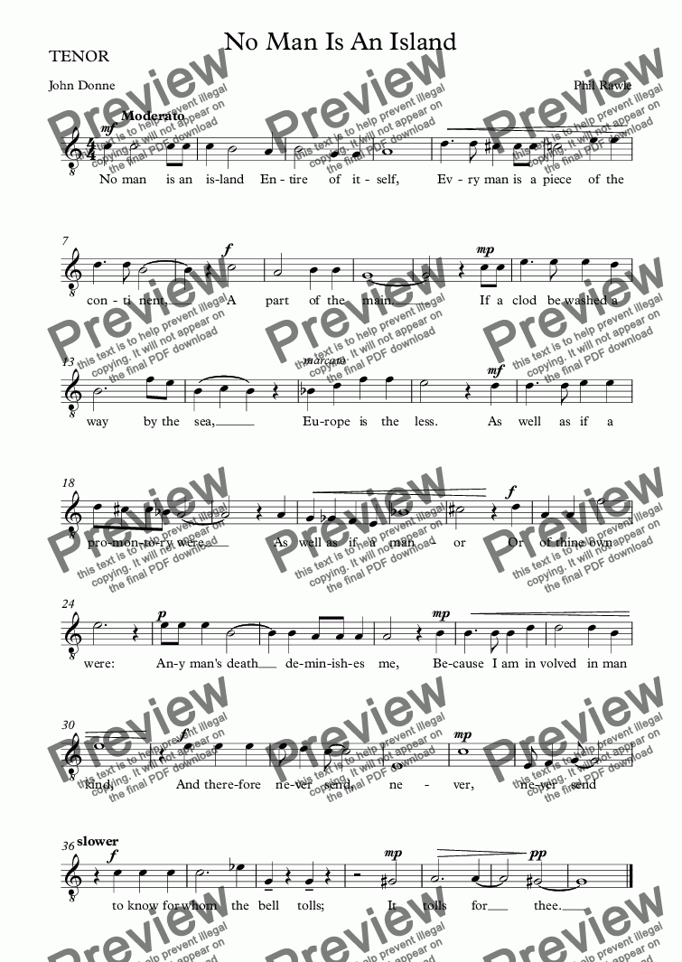 page one of the TENOR part from No Man Is An Island