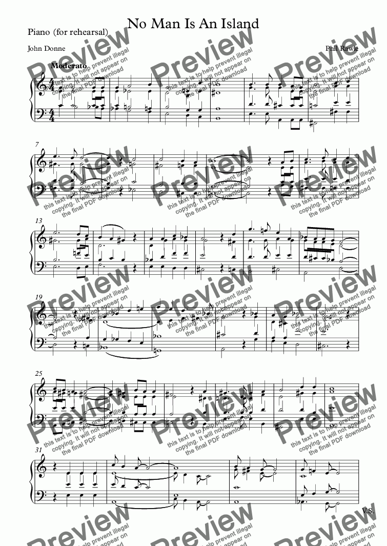 page one of the Piano (for rehearsal) part from No Man Is An Island