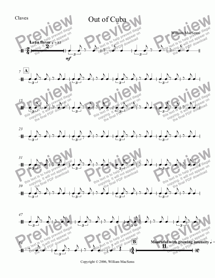 page one of the Claves part from Out of Cuba