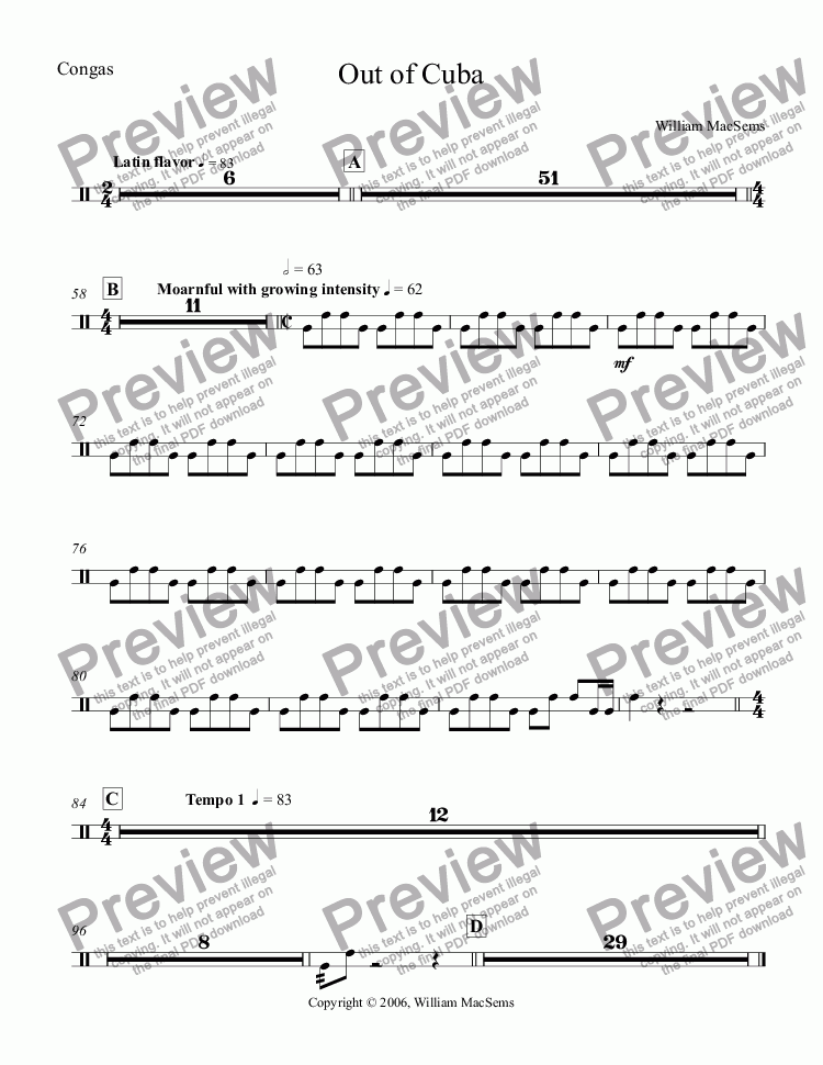 page one of the Congas part from Out of Cuba