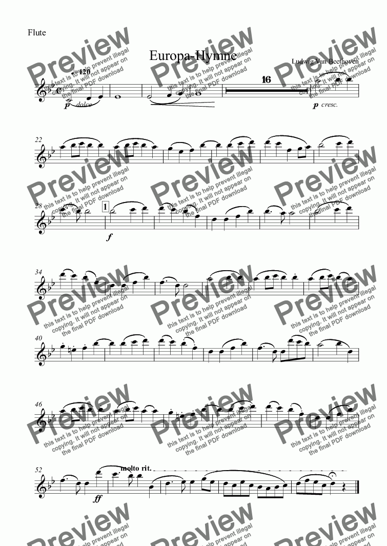 page one of the Flute part from Europa-Hymne