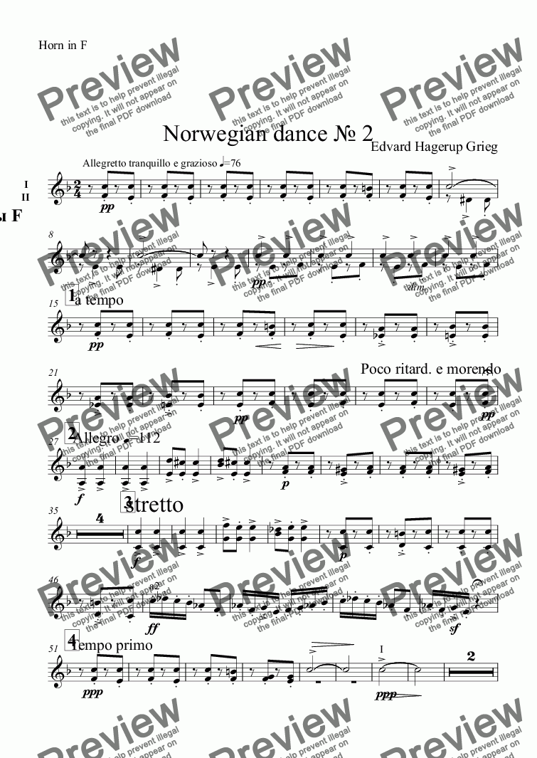 page one of the Horn in F part from Norwegian dance № 2