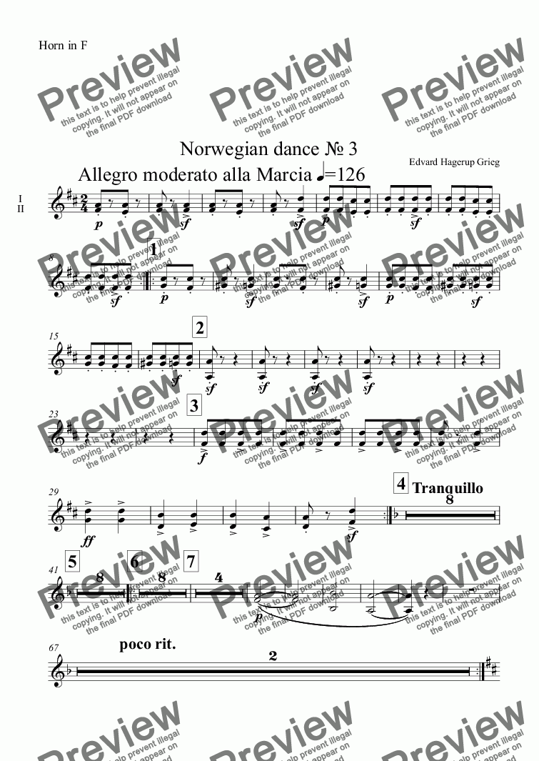 page one of the Horn in F part from Norwegian dance № 3