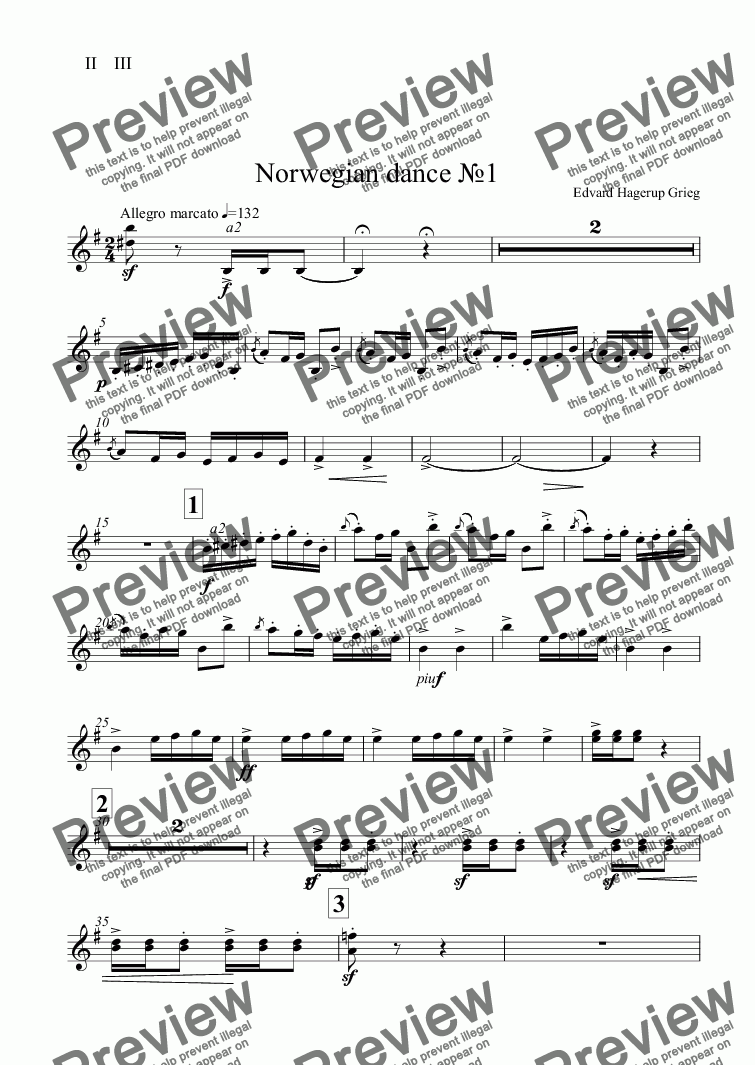 page one of the II    III part from Norwegian dance №1