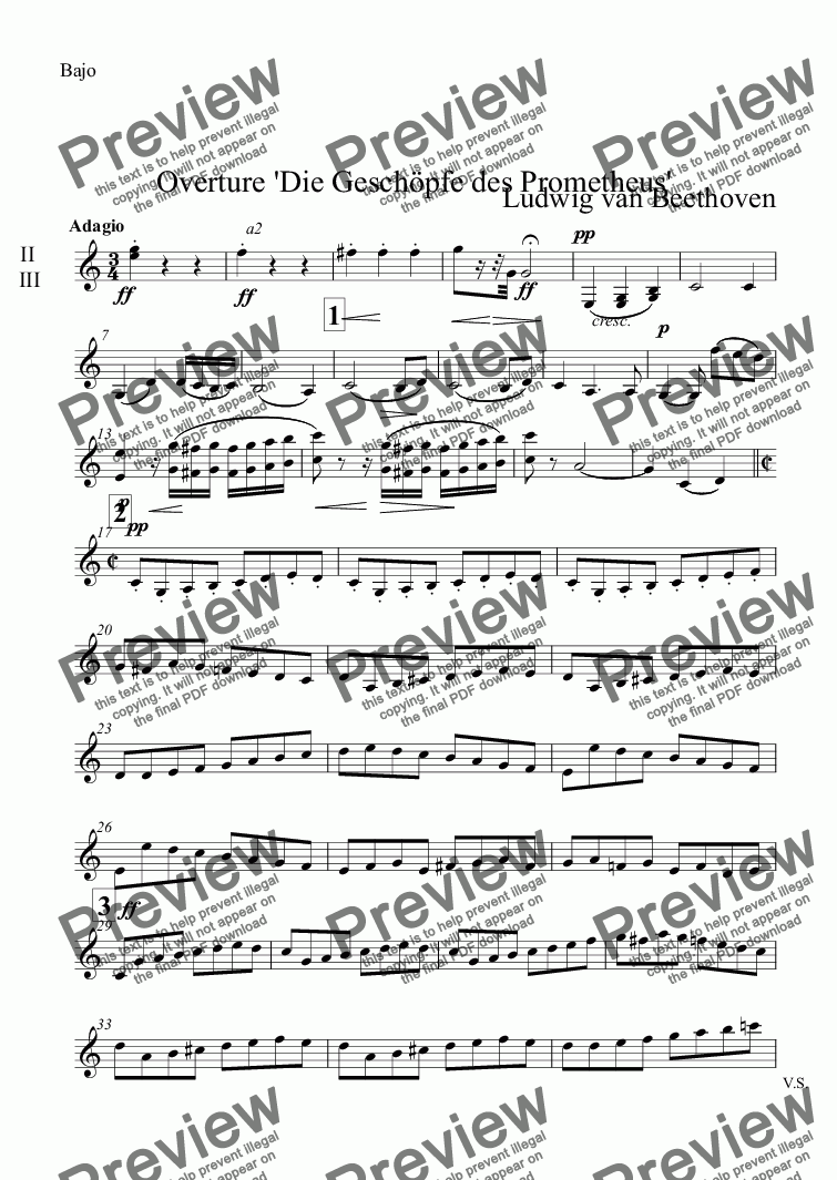 page one of the Bajo part from Overture 'Die Geschöpfe des Prometheus'