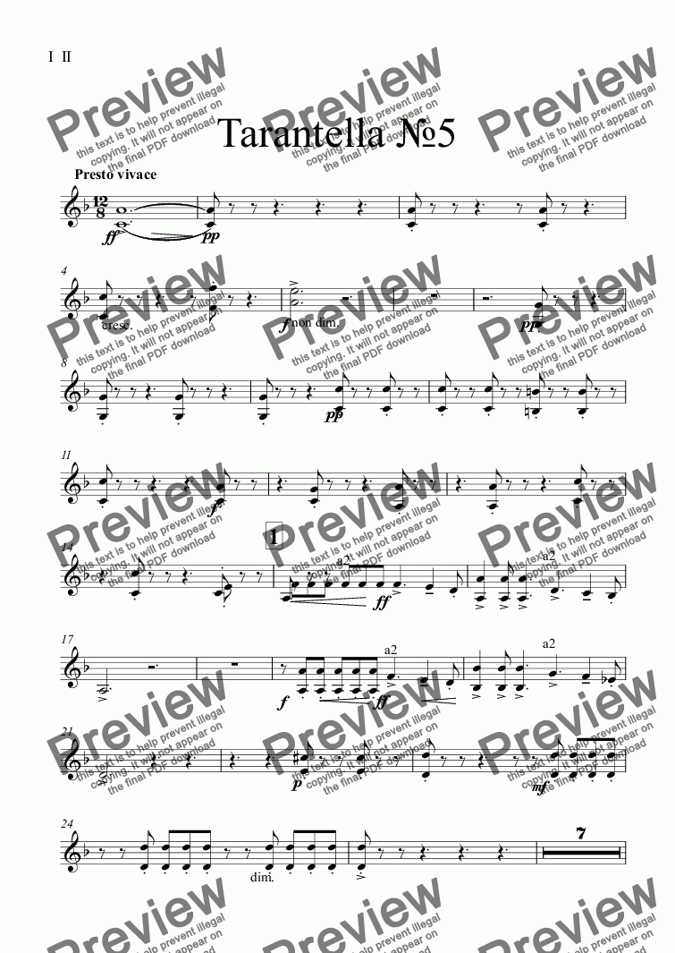 page one of the I  II part from Tarantella №5