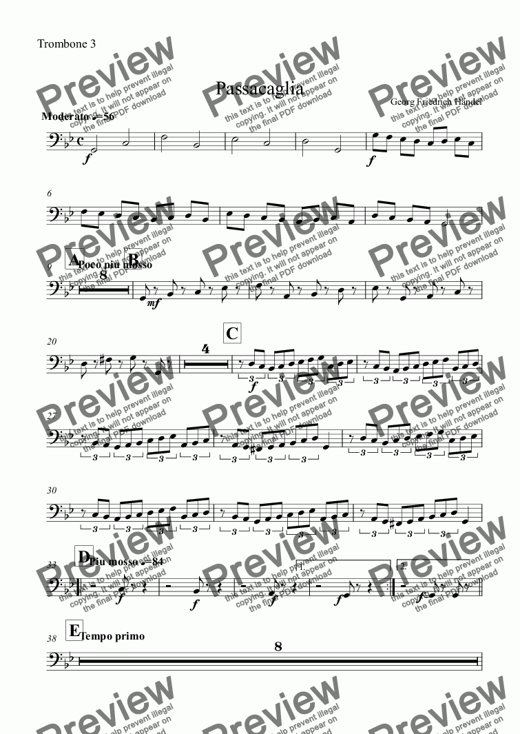 page one of the Trombone 3 part from Passacaglia