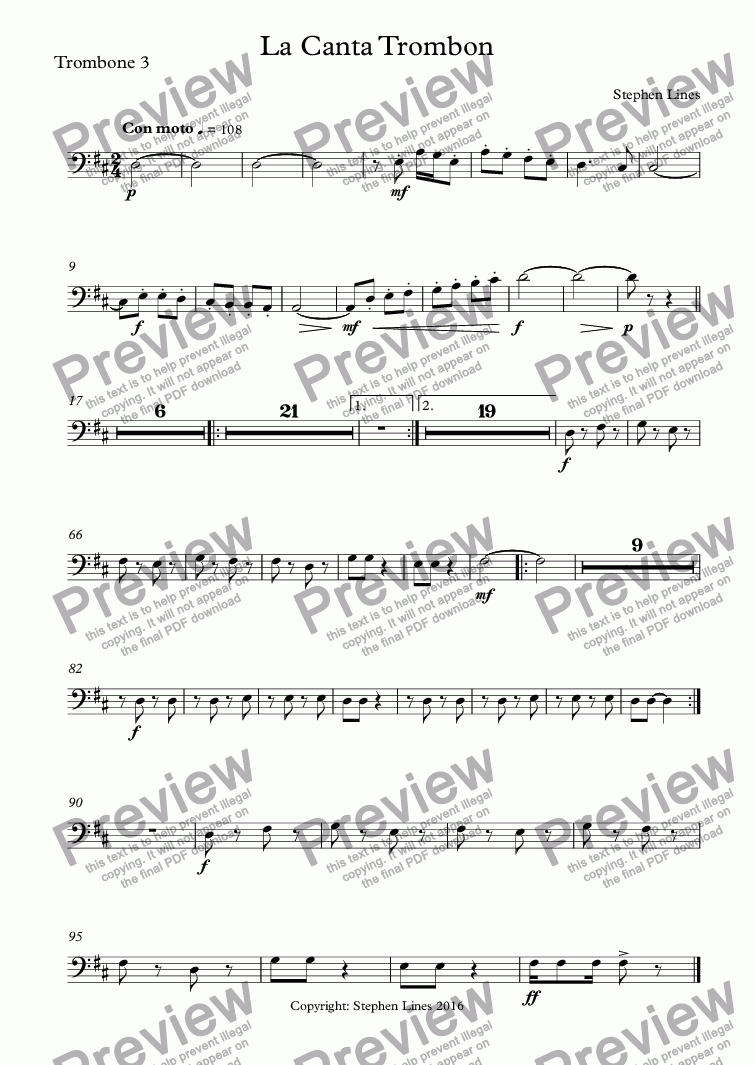 page one of the Trombone 3 part from Big Band: La Canta Trombon