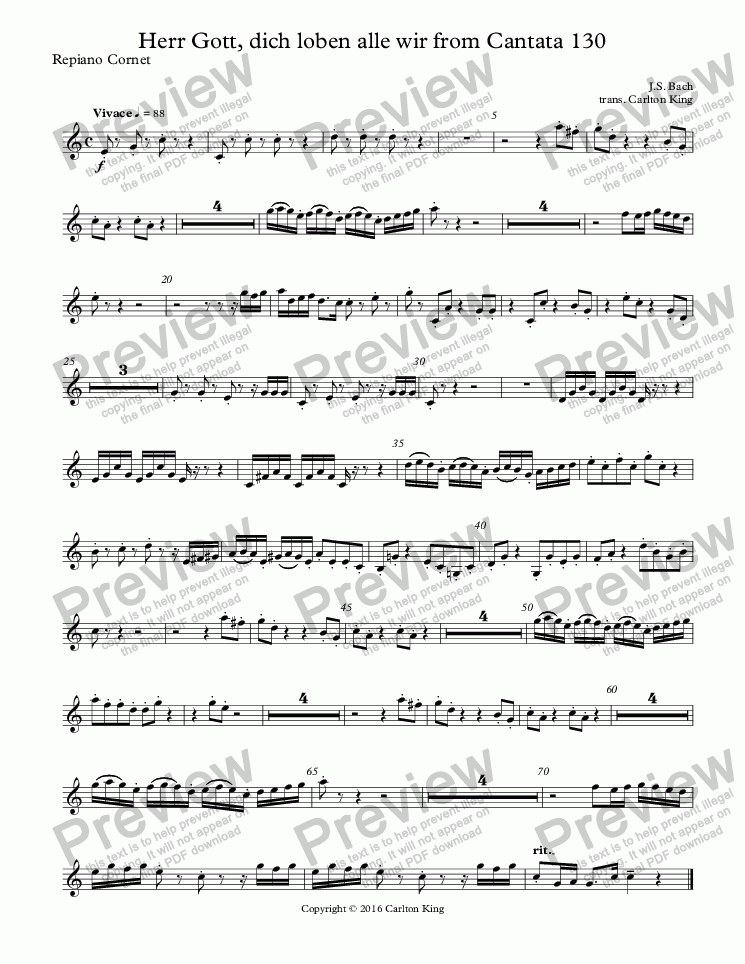 page one of the Repiano Cornet part from Herr Gott, dich loben alle wir from Cantata 130