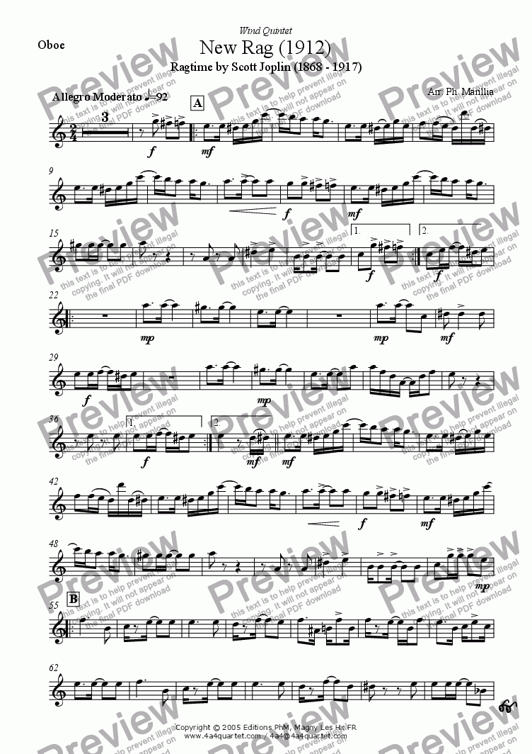 page one of the Oboe part from Joplin - New Rag (Wind Quintet)