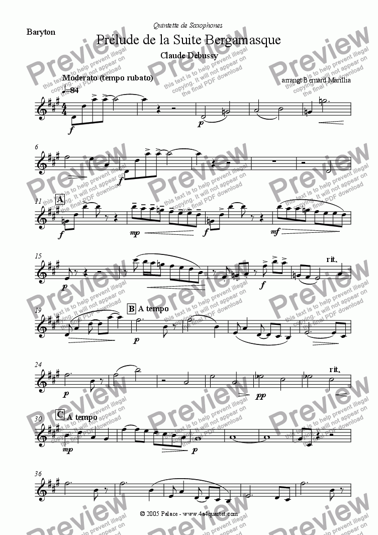 page one of the Baritone sax part from Debussy - Pr�lude de la Suite Bergamasque (Sax Quintet)