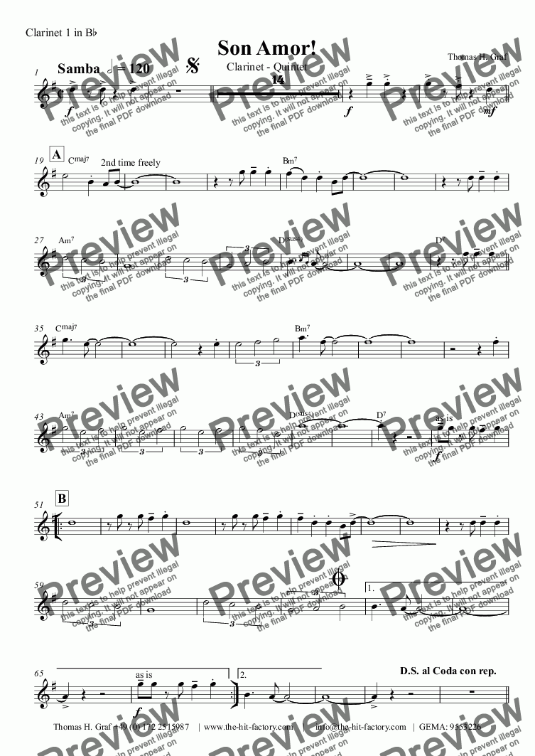 page one of the Clarinet 1 in B^b part from Son amor! - Samba - Clarinet Quintet