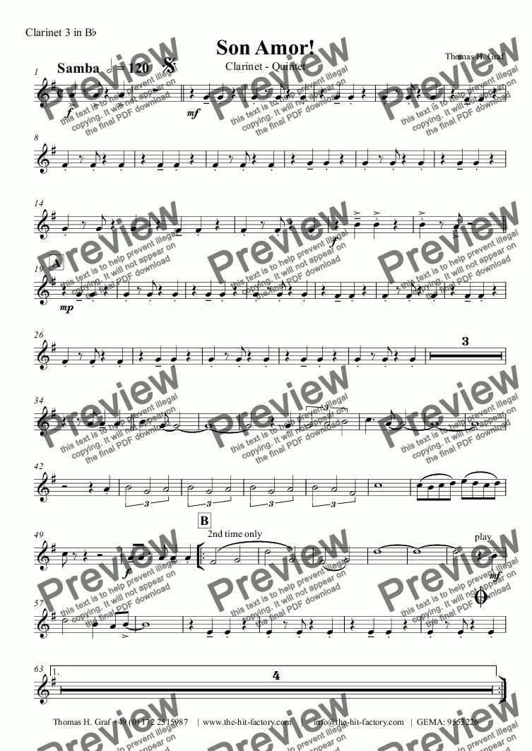 page one of the Clarinet 3 in B^b part from Son amor! - Samba - Clarinet Quintet