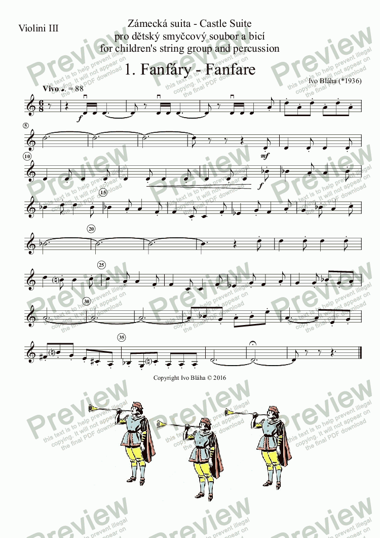 page one of the Violini III part from FANFARE (Fanfáry) for children's string group and percussion / pro dětský smyčcový soubor a bicí