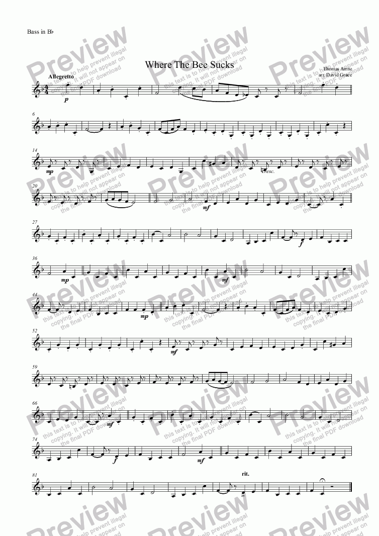 page one of the Bass in B^b part from Where The Bee Sucks