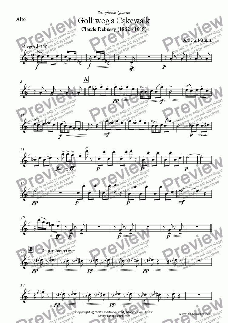page one of the Alto sax part from Debussy - Golliwog's Cakewalk (Children's Corner) (Sax Quartet)