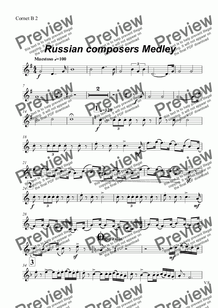 page one of the Cornet B 2 part from Russian composers Medley